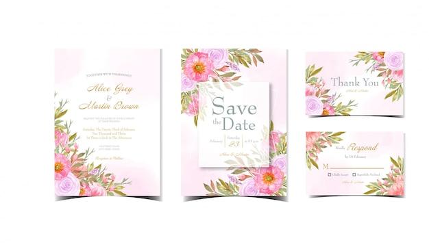 Набор абстрактных розовые свадебные приглашения с великолепными цветами