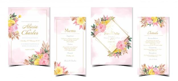 Набор свадебных пригласительных с красивыми розовыми и желтыми цветами