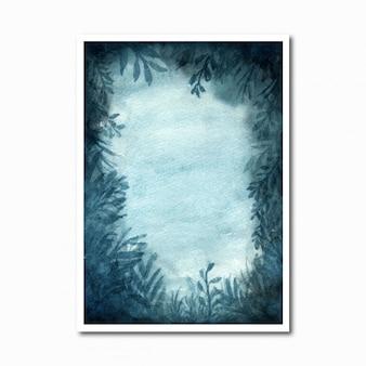 Абстрактный акварельный лес фон с синими цветами