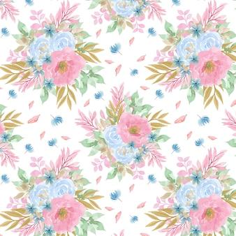 Бесшовный фон с синими и розовыми цветами