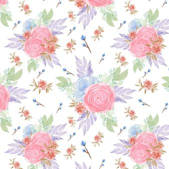 Бесшовный фон с розовыми и голубыми розами