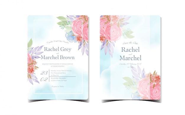 Набор абстрактных синий цветочные приглашение на свадьбу с красивыми красными и синими цветами
