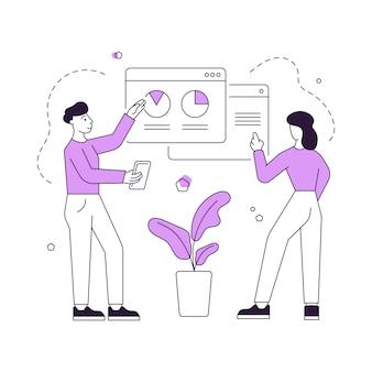 Современный мужчина и женщина, просматривая графики в интернете