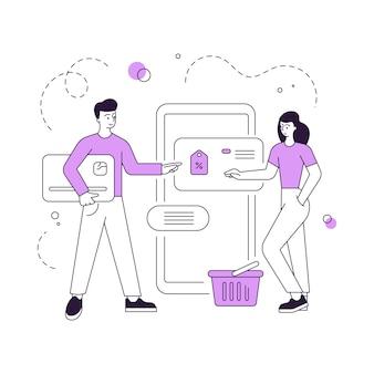 オンラインストアで割引で商品を選択するカップル