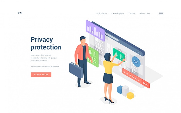 Баннер иллюстрации сайта защиты конфиденциальности.