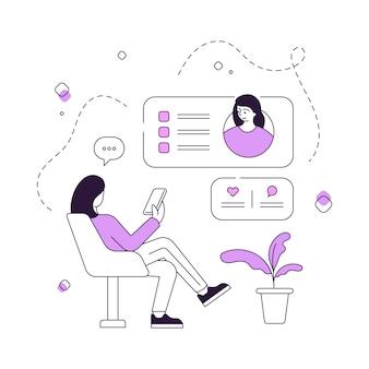 Женщина просматривает социальные медиа и общение онлайн