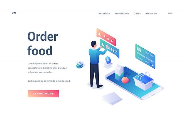 Баннер для современной службы доставки еды