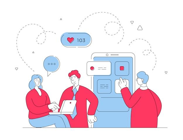 Люди размещают данные в социальных сетях. плоская линия иллюстрации