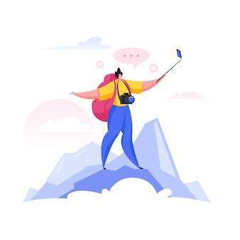 Путешественник снимает видео на вершине горы. мультфильм люди иллюстрация