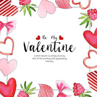 水彩バレンタインフレーム