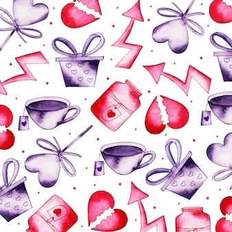 水彩バレンタインパターン背景