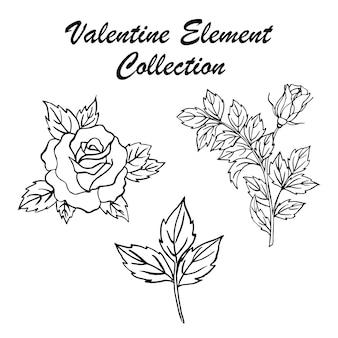 手描きのバレンタインの花のコレクション
