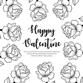 黒と白のバレンタイン要素の背景