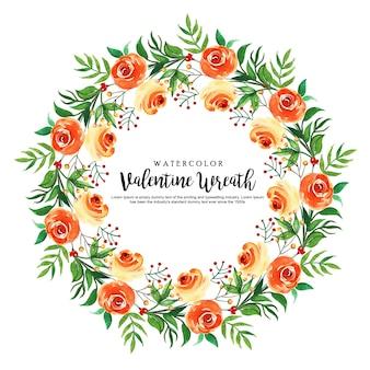 水彩バレンタインフローラルリース