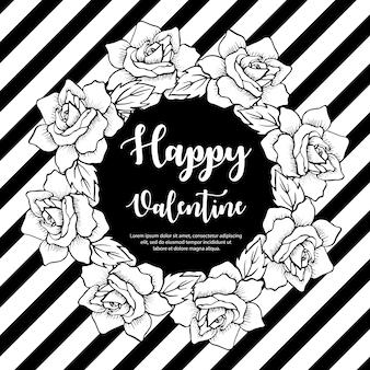 黒と白のバレンタインリース