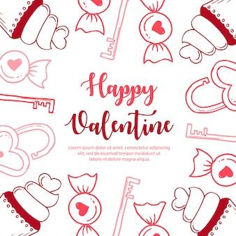 カラフルな手描きのバレンタインパターン
