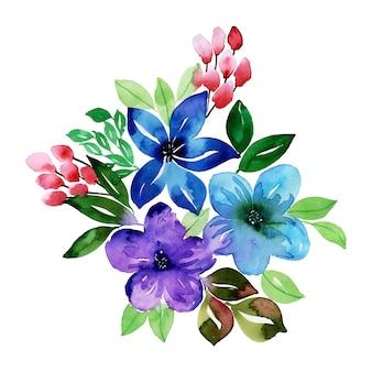 水彩花のブーケ