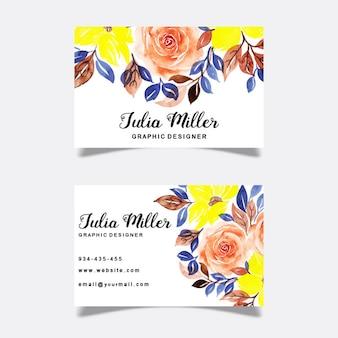 Акварельные цветочные визитки