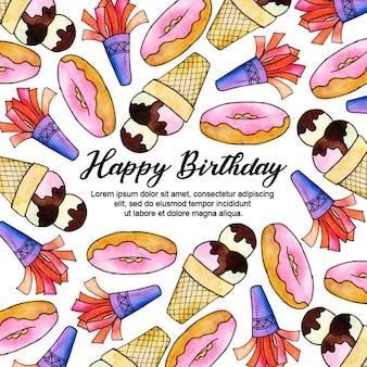 День рождения акварельный фон
