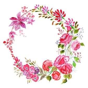 美しい水彩花のフレーム