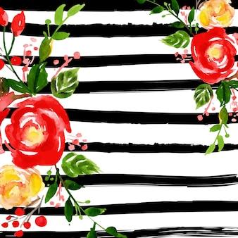 ストライプの水彩メリークリスマスの花の背景