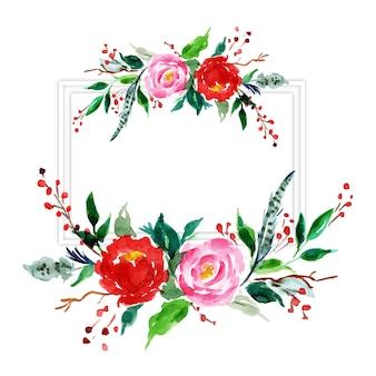 水彩メリークリスマスの花のフレーム