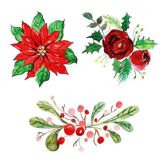 水彩メリークリスマスの要素コレクション