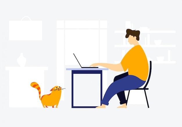 コロナウイルスのために自宅で検疫所にいる男性。猫は彼がどのように働いているかを彼に見ています。コロナウイルス隔離中の社会的距離と自己隔離。
