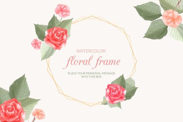 Акварель цветочная рамка с розой