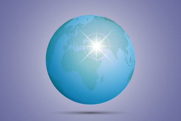 緑の点線の世界地図ベクトル図、グローバルマップ。