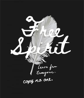 無料の精神は羽の背景イラストにスローガンをコピーしません