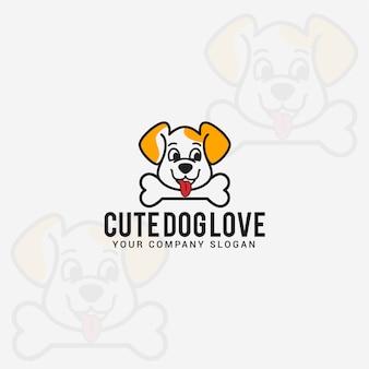かわいい犬の愛のロゴ