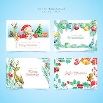 水彩スタイルのクリスマスカードテンプレートコレクション