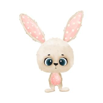 ピンクの耳のかわいいウサギ