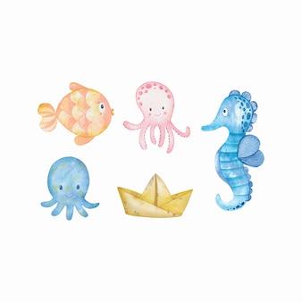 海の海洋魚や動物の水彩セット