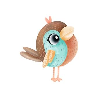 かわいい水彩画鳥