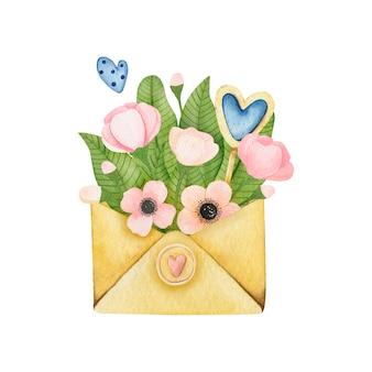封筒に水彩花