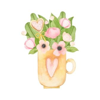 マグカップの水彩画の花