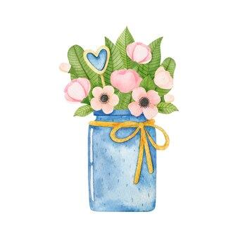 青い瓶に水彩花