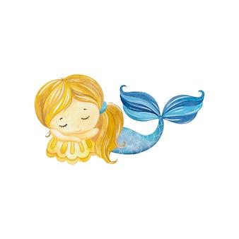 シェルで寝ているかわいい水彩画人魚