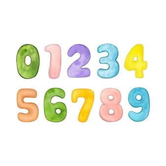 水彩数字のセット