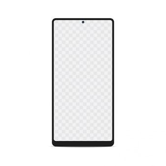 空の画面を持つスマートフォンのモックアップ。透明な画面を持つスマートフォン、ベクトル。