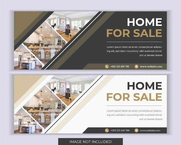 Недвижимость веб-баннер социальных медиа шаблон обложки.