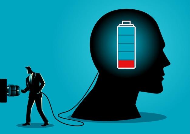 Бизнесмен заряжает мозг