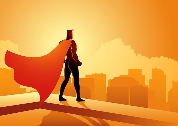 建物の端に立っているスーパーヒーロー