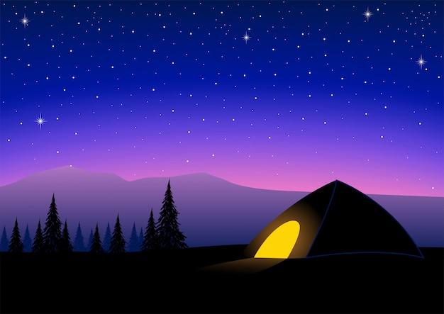 キャンプの夜の図