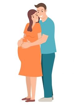 妊娠中の妻を抱き締める夫