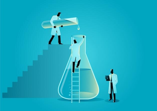 実験室のビーカーとガラス管を扱う研究者