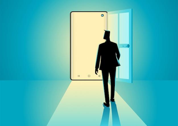 スマートフォンのドアに歩くビジネスマン