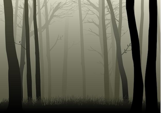 霧の森のシルエットイラスト